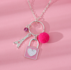 Ladies Necklace (GRAY - PINK) (Os)