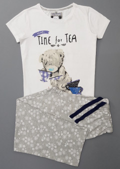 TALLY LEDDY Ladies 2 Pcs Pyjama Set ( WHITE - CREAM) (S - M - L - XL)