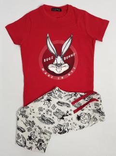 AWESOME BIG BONUY Boys 2 Pcs Pyjama Set (RED - GRAY) (2 to 11 Years)