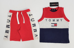 TOMMY - HILFIGER Boys 2 Pcs Shorty Set (RED - NAVY) (2 to 8 Years)