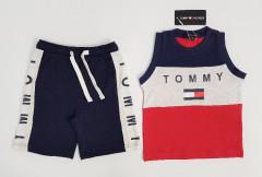 TOMMY - HILFIGER Boys 2 Pcs Shorty Set (NAVY) (2 to 8 Years)