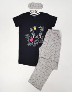 CALIMERA Ladies Turkey 3Pcs Pyjama Set (BLACK - GRAY) (S-M-L-XL)