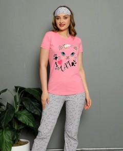 CALIMERA Ladies Turkey 3Pcs Pyjama Set (PINK - GRAY) (S - M - L - XL)