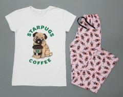 STARPUGS AND COFFEE Ladies Turkey 2Pcs Pyjama Set (WHITE - PINK) (S - M - L - XL)