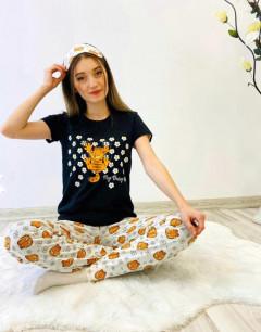 CLM Ladies Turkey 3Pcs Pyjama Set (BLACK - WHITE) (S - M - L - XL)