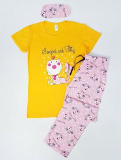 SEMFONI AND JTTY Ladies Turkey 3 Pcs Pyjama Set (YELLOW - PINK) (S - M - XL)