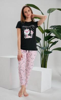 NORMAL Ladies Turkey 3 Pcs Pyjama Set (NLACK - PINK) (S - M - L - XL)