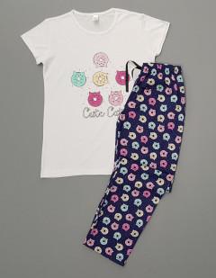 NORMAL Ladies Turkey 3 Pcs Pyjama Set (WHITE - NAVY) (S - M - L - XL)