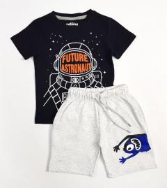PEBBLES Boys 2 Pcs T-Shirt & Shorty Set ( BLACK - LIGHT GRAY) ( 2 to 10 Years)