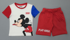 PEBBLES Boys 2 Pcs Shorty Set (WHITE - RED) (2 to 10 Years)