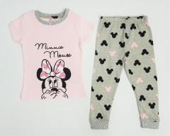 Girls 2 Pcs Pyjama Set (LIGHT PINK - GRAY) (2 to 10 Years)