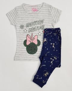 Girls 2 Pcs Pyjama Set (LIGHT GRAY - NAVY) (2 to 8 Years)