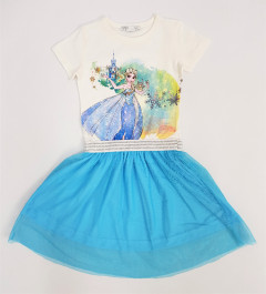 M AND S Girls Frocks (WHITE - BLUE) (2 to 8 Years)