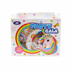 36pcs Unicorn Mermaid Dinosaur Party Gala Set Paper Plates Hats Straw Cups Blowouts Eye Masks (OS) (GM)