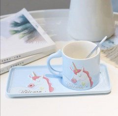 3pcs Nordic creative Unicorn Coffee Cup saucer Mug with Spoon lovely ceramic Drinking Tea Milk CUP Capacity 240 ML (BLUE) (GM)