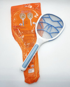 Electric Bug Zapper Hand Held Fly Swatter Rechargeable With Bright LED light For Home And Outdoor Multicolor. (WHITE-BLUE) (OS) (GM)