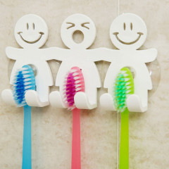 MANDY HOME  Cute Toothbrush Holder with Suction Cup for Bathroom Wall Smile Face Emoji Home Decor(GM)
