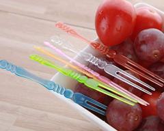 36 PCS Plastic Color Transparent Fruit Food Forks / Cocktail Picks (GM)