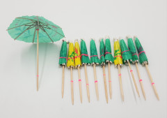 Party Paper Wooden Picks Toothpick Cocktail Umbrellas for Drink