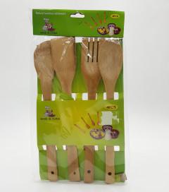 4 Pcs Natural Bamboo Tableware