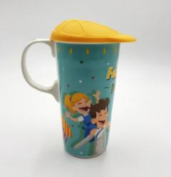 CEDAR HOME Coffee Ceramic Mug Porcelain Latte Tea Cup With Lid.