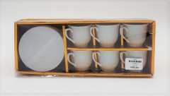 Set of 6 White Cup & Saucer Ceramic Tea And Coffee Set