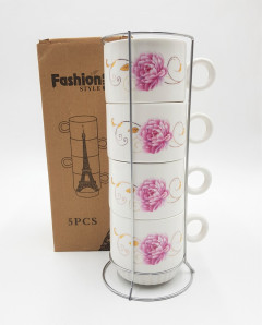 5pcs Creative Elegant Flower Coffee Cup Ceramic Mug Set Storage Rack Stacked Cup Gift Cup with Shelf Four-piece Home Decorations
