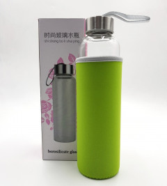ORIGIN Best BPA-Free Fruit and Tea Infuser Borosilicate Glass Water Bottle with Neoprene Sleeve and Bamboo Lid, Double Mesh Filter, Travel Tumbler