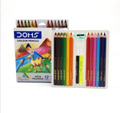 12 x Mega Triangular Jumbo Colouring Pencils - Drawing Sketching Shading