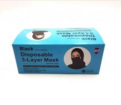 50 Pcs Black Disposable 3-Layer Mask(Ear-Loop Type)