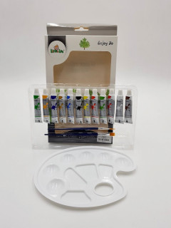 12 Pcs Water Color Paint With Painting Palette & Brush