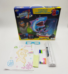 Kids Educational Funny Magic 3D Drawing Board - 3D LED Dinosaur Drawing Pad with 3D Glasses , Painting Learning Pad 3D Drawing Magic for Children
