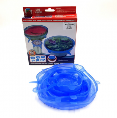 6 pcs Set Airtight Reusable Stretch Silicone Lids for Food Wrapping, Keeps Sealing Container Fresh and Stretchy, for Kitchen Utensils