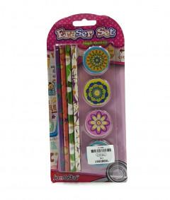 4 Pcs Pencil and 4 Pcs Eraser Set
