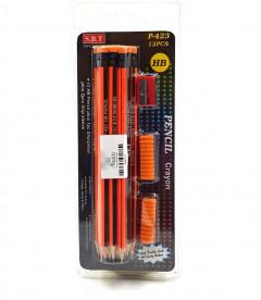 12 pcs pack HB Pencil Plus whit 1pc Sharpener Plus and  2pcs Grip Sleeve