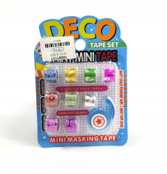 Set of mini tape cutter and tape for decoration 12 mm color with glitter 9 pcs