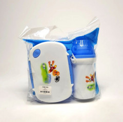 2 Pcs Set Water Bottle Plastic lunch box 3 Compartments food container