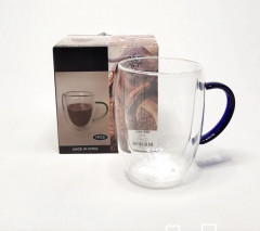 1 Pcs Coffee Mugs, Clear Glass Double Wall Cup with color handle for Coffee, Tea, Latte, Cappuccino