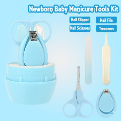 Baby Manicure Set, 4-in-1 Baby Grooming Kit, Baby Nail Clippers, Scissor, File & Tweezer, Baby Nail Care Kit for Newborn, Infant & Toddler