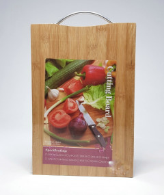 Pindia Eco-Friendly Natural Bamboo Wood Rectangular Chopping & Cutting Board with Steel Handle