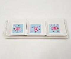 4 PCS DESSERT SET- 1PC PLATE TRAY, 3PCS for Dessert-melamine