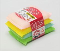 LIAO 4 Pcs Spong Scouring Pad Set