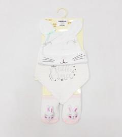 3 Pcs Set Cap Bandana Bib and Rattle Socks for Baby