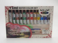 Artist Water Colour Paint With Brush Set Multicolour , 4 Pcs Artist Brush , 1 Palette , 12 Colours
