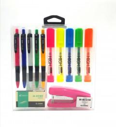 Multi-Color Highlighter Pen + Pen + Stapler