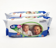 All Day Sensitive Baby wet Towel Pink 72 pcs Provitamin B5/Vitamin E