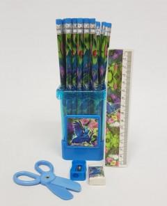 Set Of Pencil Sharpener, Eraser, Pencil Sharpener And Scissors