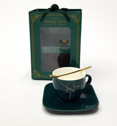 3 Piece Tea Cup and SaucerWith Spoon