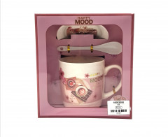 Happy Mood 3 Piece Tea Cup and SaucerWith Spoon