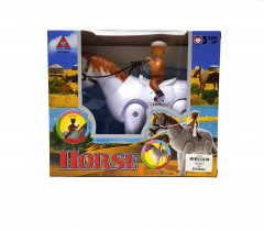 Kids Attractive Battery Opperated Walking Horse With Man Rider Horse Sound Toy